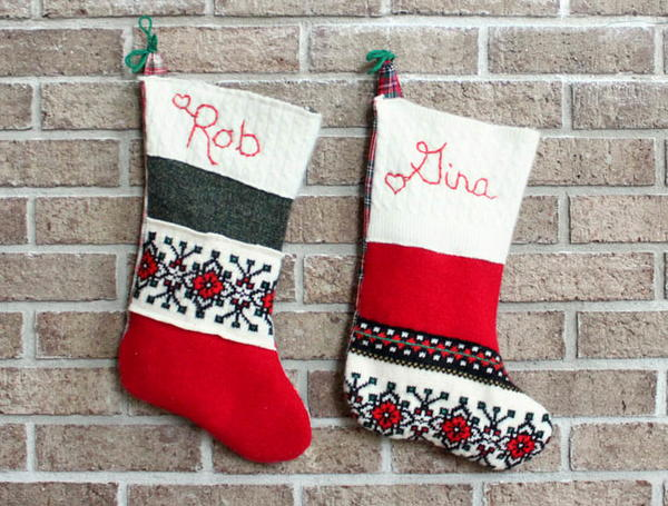DIY Upcycled Christmas Stockings