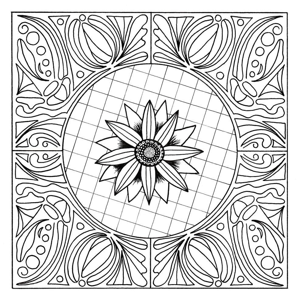 Floral Mandala Adult Coloring Page   FaveCrafts.com