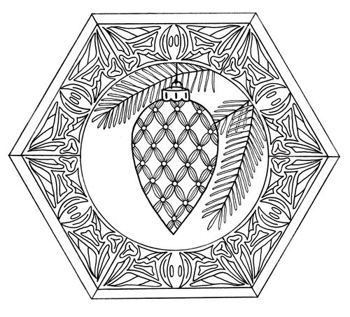 Christmas Bauble Mandala Adult Coloring Page