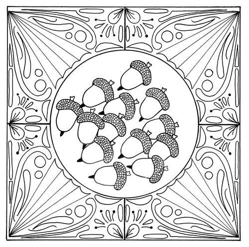 Fall Acorn Mandala Adult Coloring Page