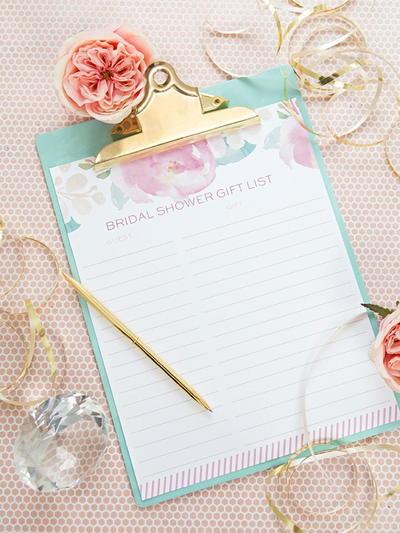 printable bridal shower gift list