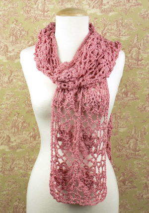 Blush Rose Crochet Scarf