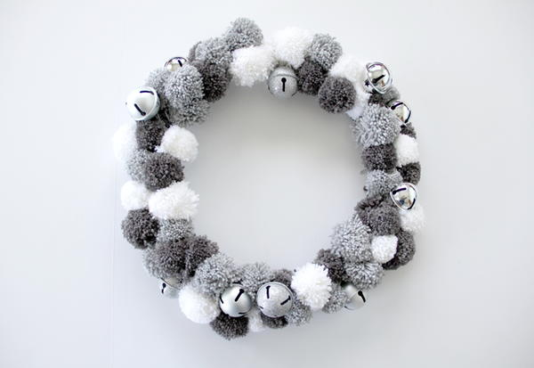 Silver Bells Yarn Pom Pom Wreath