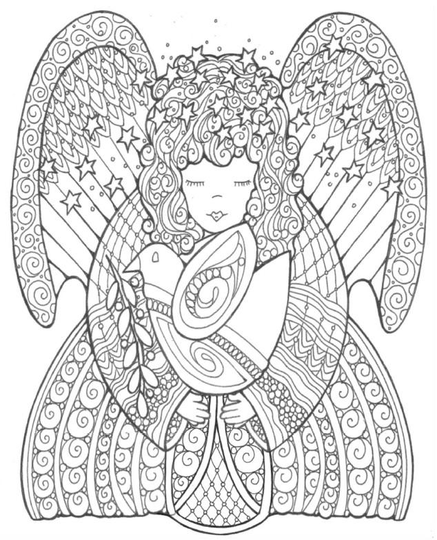 printable detailed angel coloring pages - photo#25