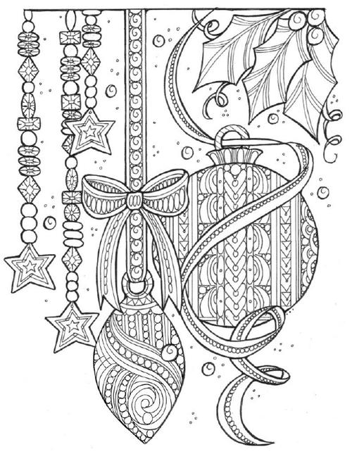 Magical Christmas Tree Adornments Coloring Page FaveCraftscom