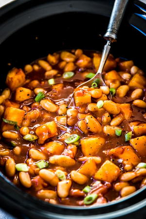 Pineapple BBQ Slow Cooker Baked Beans