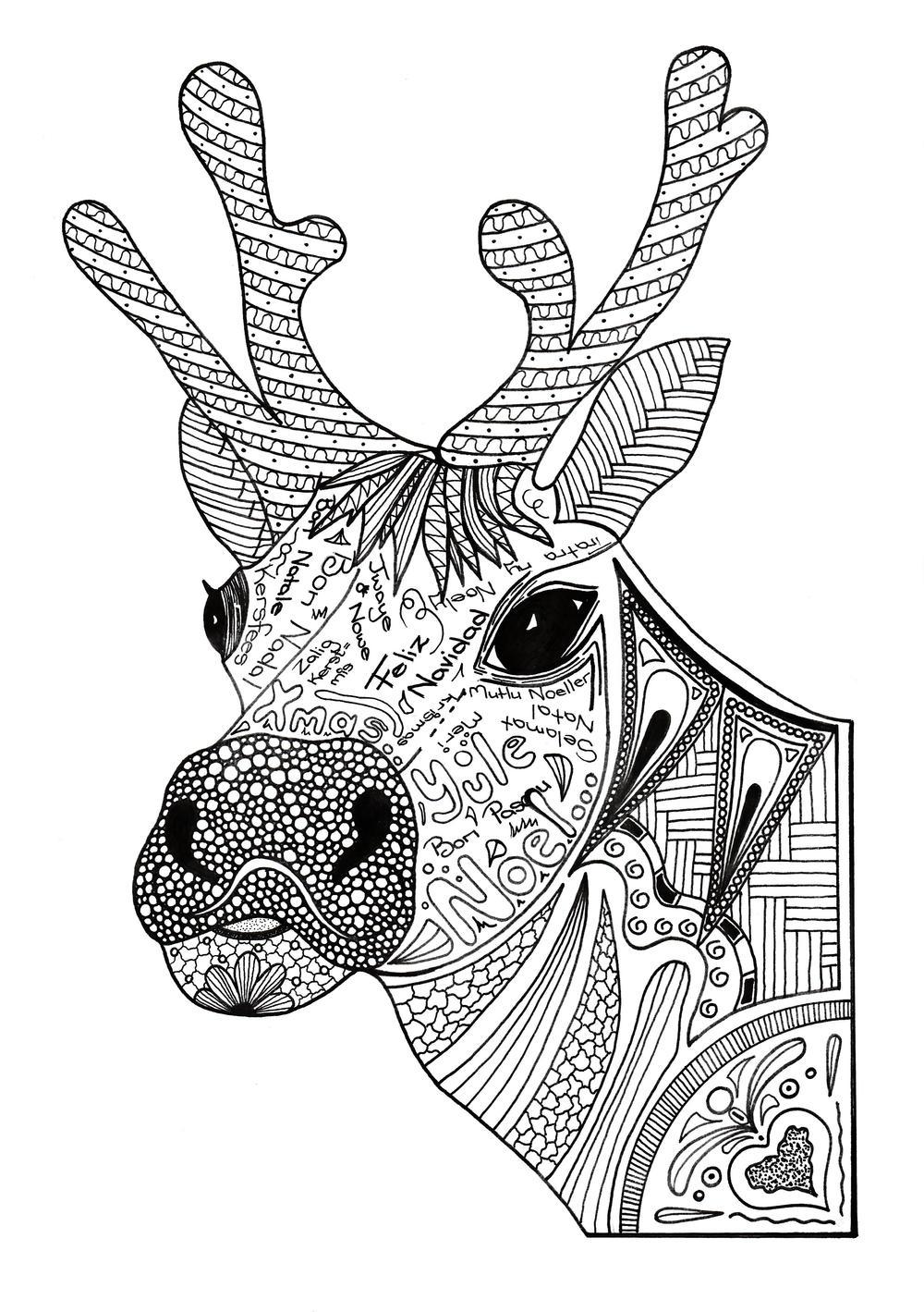 Adorable Reindeer Coloring Sheet - Worksheet & Coloring Pages