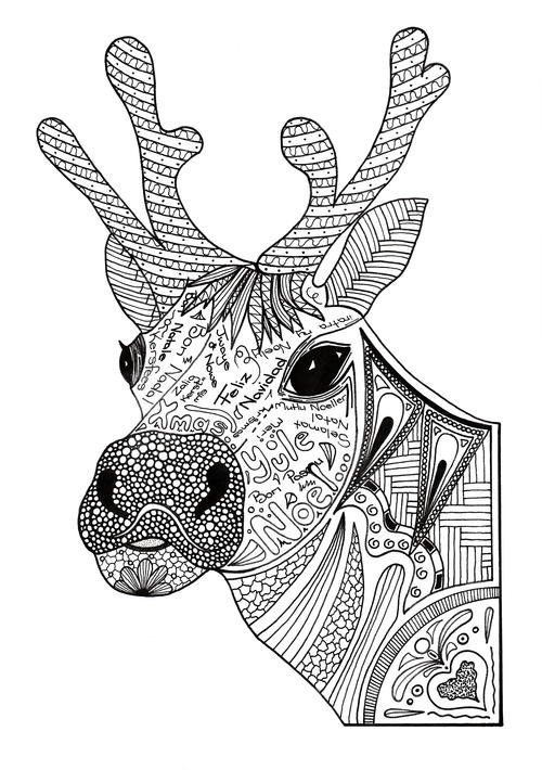 Christmas Reindeer Adult Coloring Page