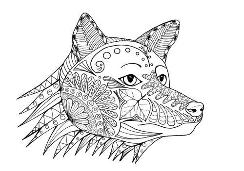 Fox-a-Hunting Adult Coloring Page