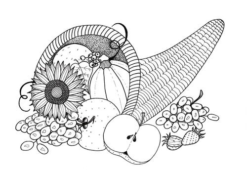 Plentiful Cornucopia Coloring Page