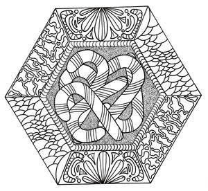 Candy Canes Galore Adult Coloring Page