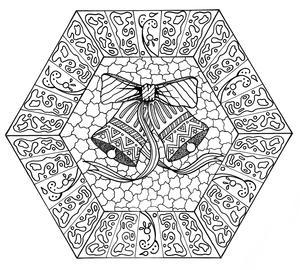 Jingle Bells Mandala Coloring Page