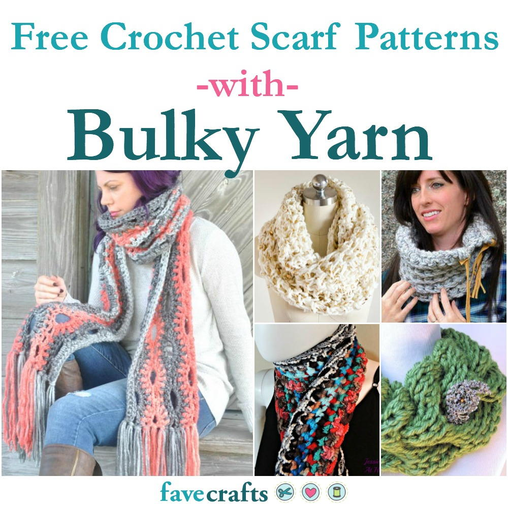 29+ Free Crochet Scarf Patterns Using Bulky Yarn | FaveCrafts.com