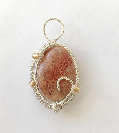 Twisted Wire Wrapped Jasper Pendant