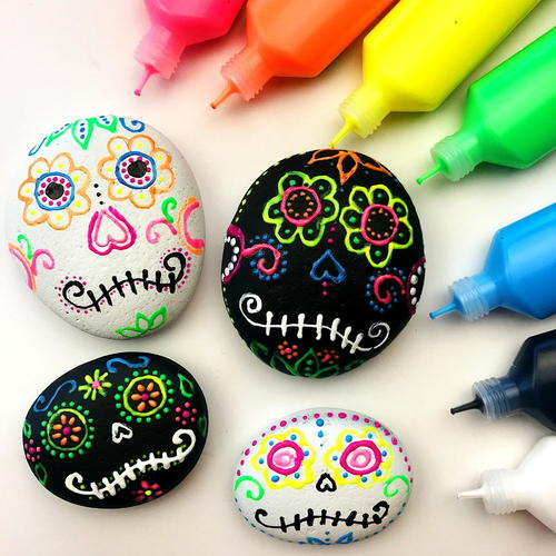 Sugar Skull Rocks Using Puffy Paint_2