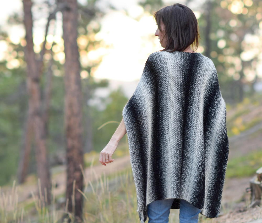 Aspen Relaxed Knit Poncho | AllFreeKnitting.com