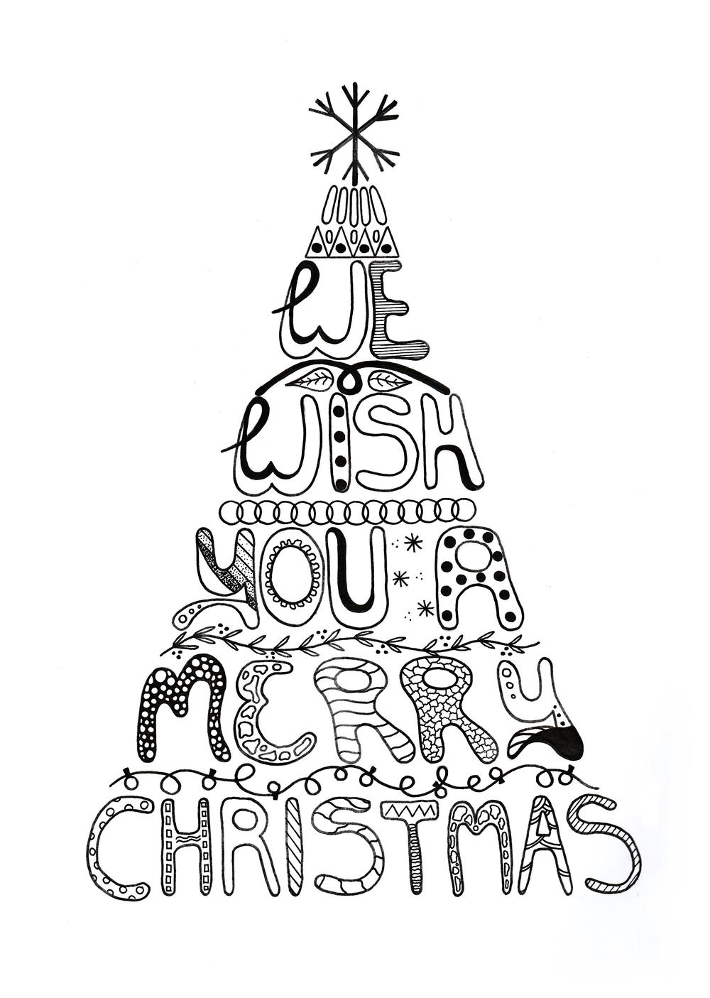 Merry Christmas Adult Coloring Page | AllFreePaperCrafts.com