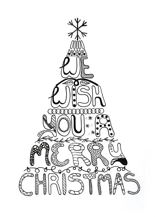 Merry Christmas Adult Coloring Page