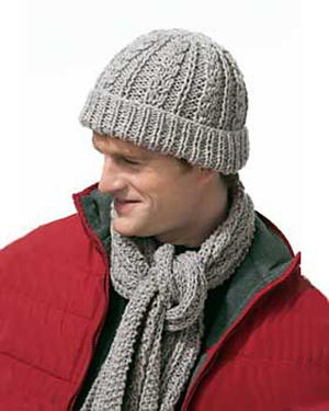 Gray Knit Scarf Set for Men