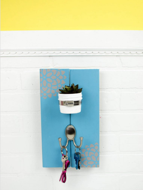 DIY Succulent Key Rack