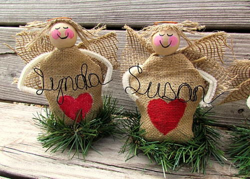Burlap Angel Personalized Place Settings