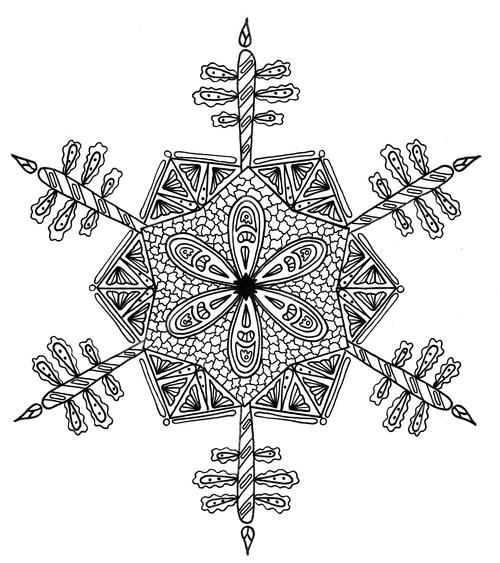 Intricate Snowflake Adult Coloring Page FaveCraftscom