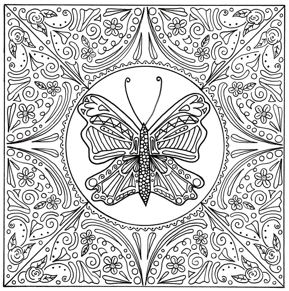 Butterfly Lace Mandala Adult Coloring Page | FaveCrafts.com