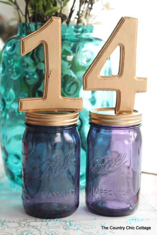 DIY Mason Jar Table Numbers
