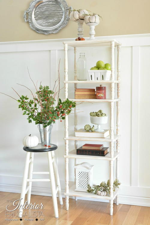 Farmhouse Etagere Bookcase From 3 Tiered Tables