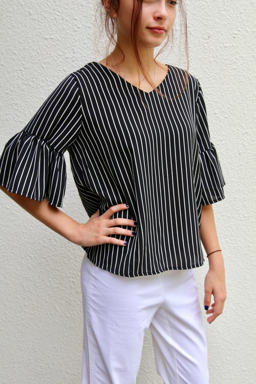 Belle Sleeve Top Free Sewing Pattern And Tutorial | AllFreeSewing.com