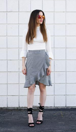 Checkmate Ruffle Wrap Skirt Refashion