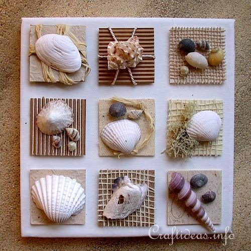 Summer Canvas with Seashells