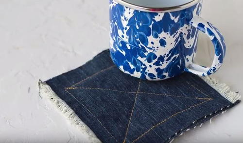 Upcycled Denim Jean Fringed Coasters