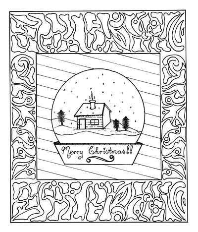 Framed Snow Globe Adult Coloring Page