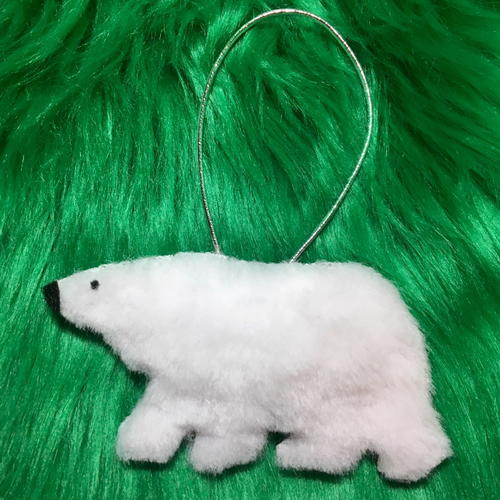 Softest Fluffy Polar Bear Christmas Ornament