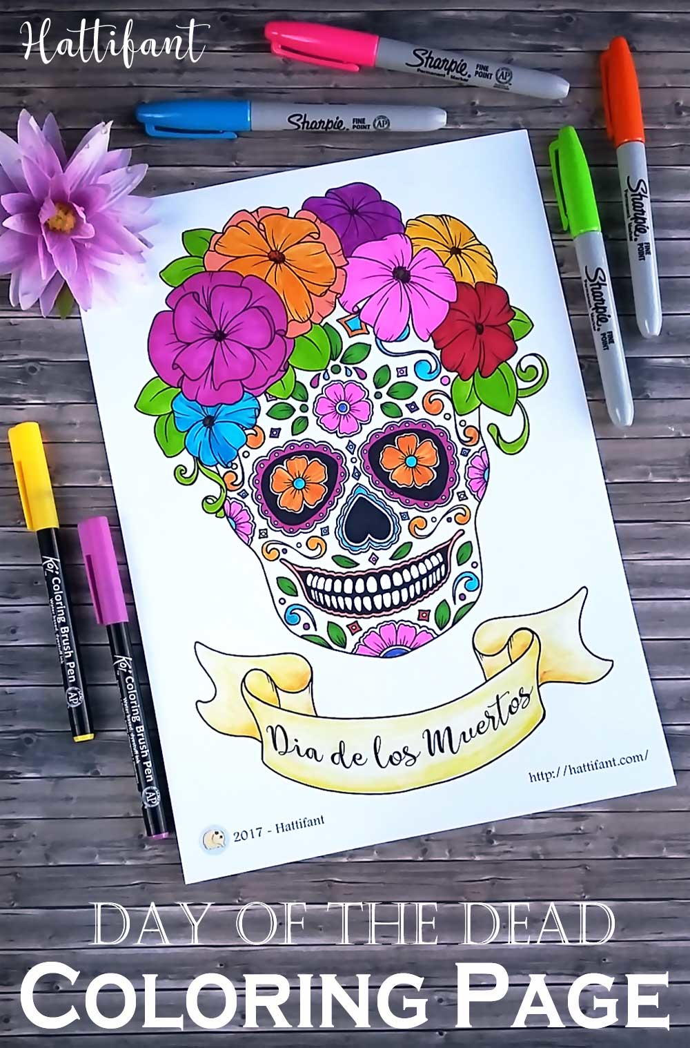 Day of the Dead Sugar Skull Coloring Page | FaveCrafts.com