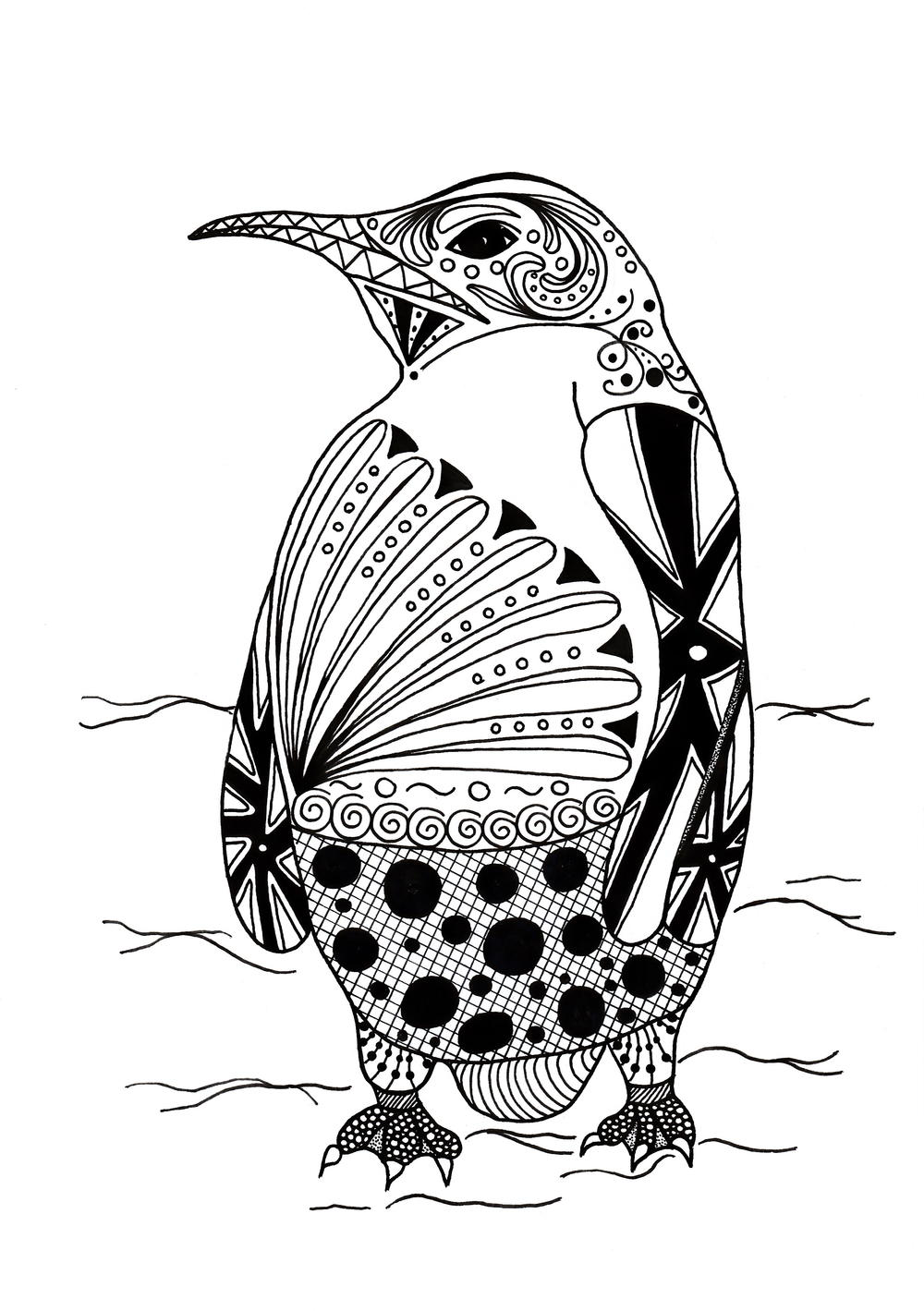 Intricate Penguin Adult Coloring