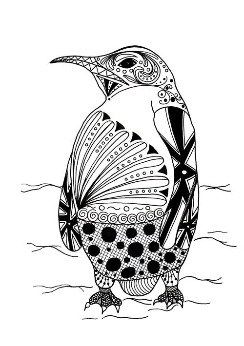 37 printable animal coloring pages pdf downloads for Penguin adult coloring pages