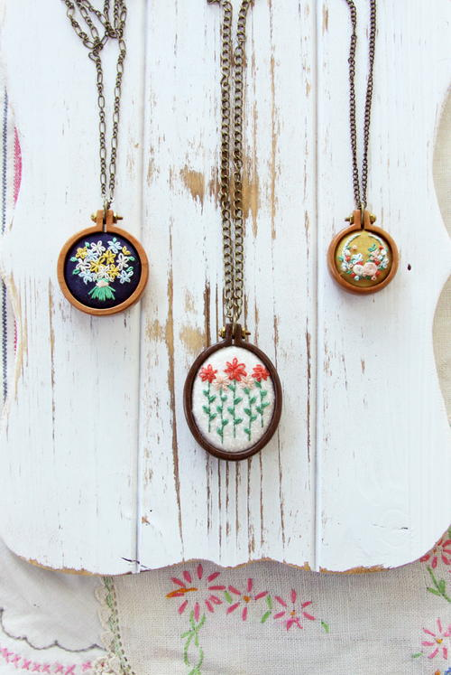 Whimsical Embroidered Mini Hoop Necklaces