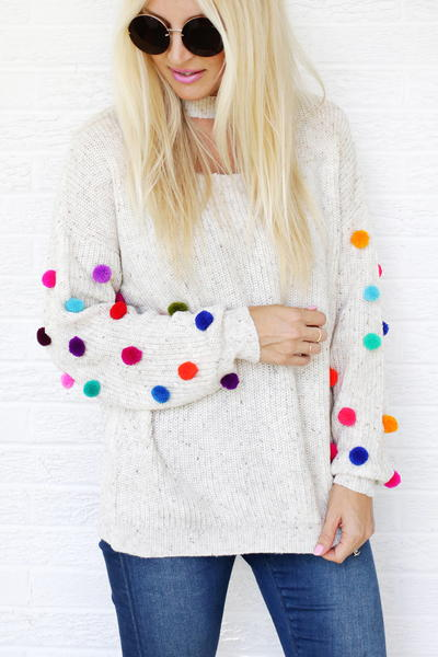 DIY Pom Pom Sweater