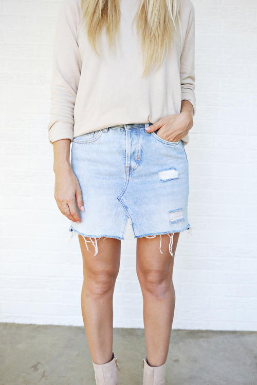 DIY Jeans to Skirt Refashion