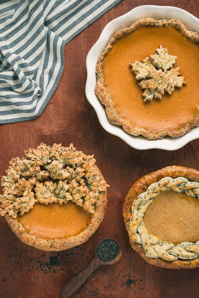 Bourbon Pumpkin Pie with Black Sesame Crust