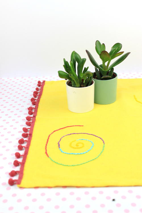 Embroidery Pom Pom Tablecloth!