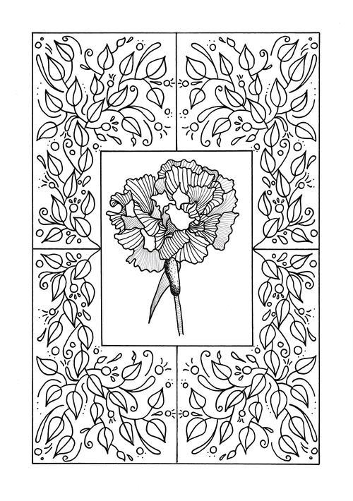 Carnation Mandala Adult Coloring Page | FaveCrafts.com