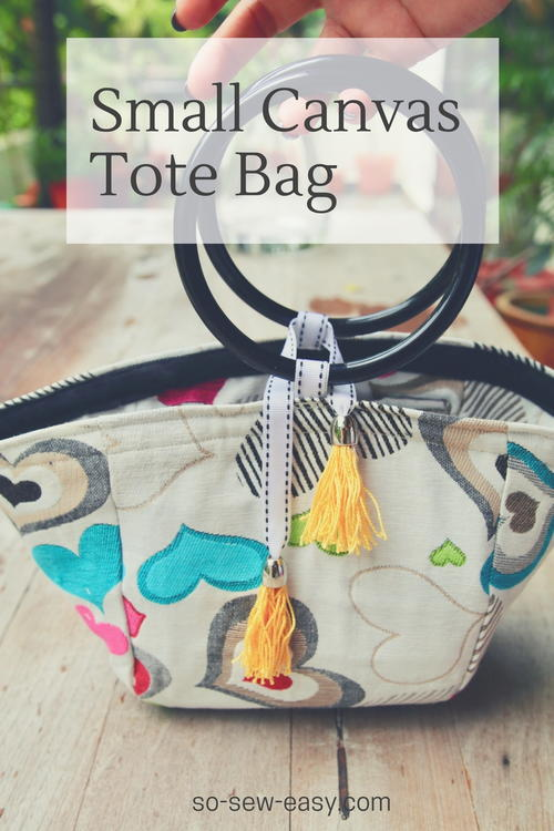 Small Canvas Tote Bag Pattern and Tutorial