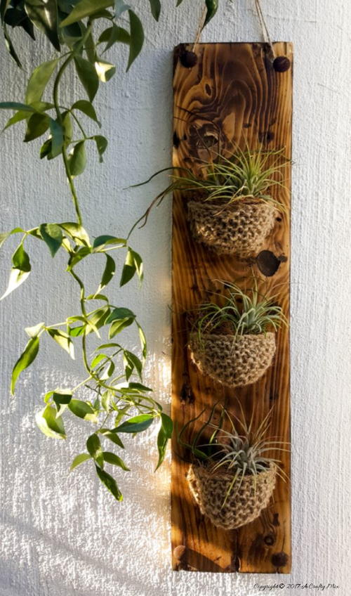 Wood And Jute Knitted Planter