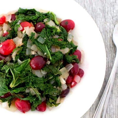Easy Sauteed Kale and Cranberry Salad