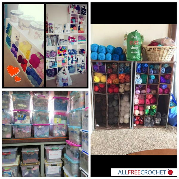 Organize your yarn in clear plastic bags or boxes!