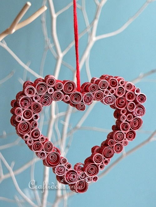 Quilled paper heart decoration for Decoration quilling