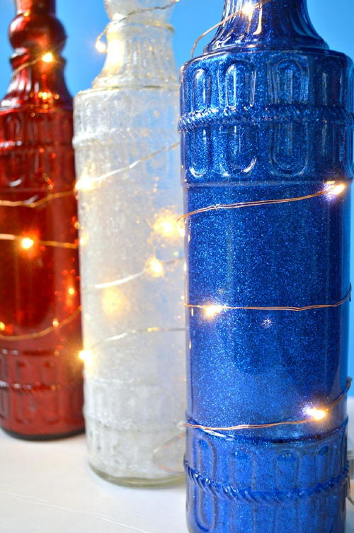 Dollar Store Glittery Bottle Lights